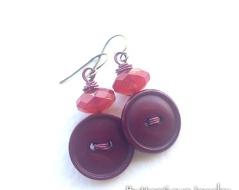 Berry Red Button Earrings with beads