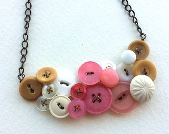 Mothers Day Sale Tan, White, and Coral Pink Large Vintage Button Statement Necklace