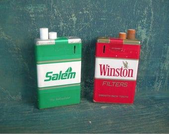 Vintage Cigarette Lighters, Winston and Salem Cig Pack Design, Vintage Collectible Tobacciana, Man Cave Decor Display