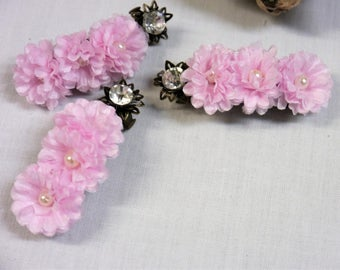 Pink rufflled layered flowers with pearl center  on Bronze Hair Barrette  -  Wedding, Bridesmaids or other Special Occasion