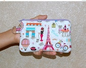 SALE - Bonjour Paris - iPhone 6s, iPhone 6, iPhone 5, iPhone 4, Samsung Galaxy S5/S6 - Cell Phone Gadget Zipper Pouch / Coin Purse