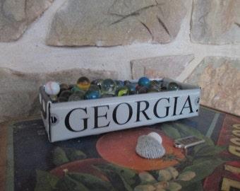 Georgia License Plate Tray - Rustic Storage Box - Planter - Free Shipping - Gift Box - Treasure Box - Repurposed Box - Upcycled Box