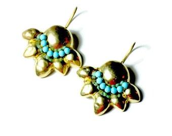 Turquoise Earrings, Gold Dangle Earrings, Gold Plated Earrings, Beaded Turquoise Earrings, Turquoise Gemstone, Something Turquoise, Handmade
