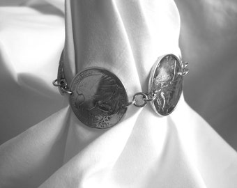 Coin Jewelry~Antique silver Walking Liberty half dollar bracelet