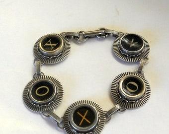 SALE Typewriter Key Jewelry, Bracelet.  XO, Hugs and Kisses,  Retro. Recycyled. Reclaimed. Vintage. Custom Orders Welcome.