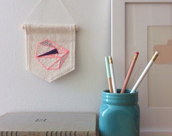 Neon Pink Geometric Wall Art, Modern Boho Style, Abstract Embroidery, Modern Textile Art, Ready To Ship, Minimalist Decor, Pink and Navy