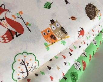 Forest Fellows fabric, Fox fabric, Rustic Fabric, Boy Room Decor, Owl Decor, Forest Colorway, Robert Kaufman- Bundle of 3, Choose The Cut