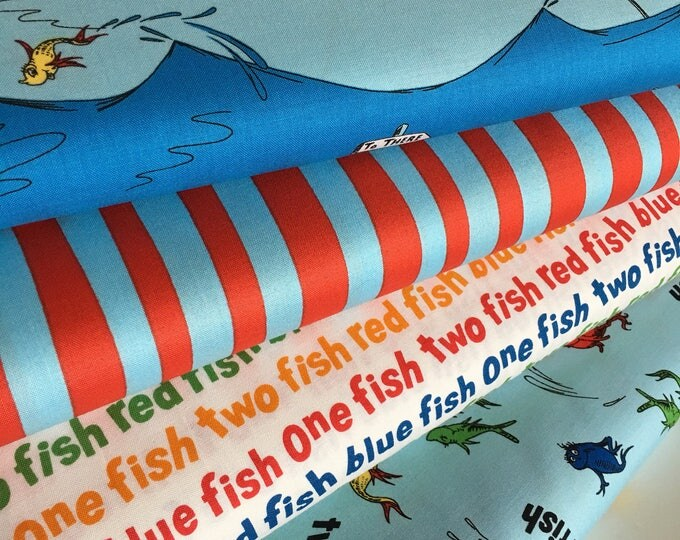 Dr Seuss fabric bundle of 4, Gift for Teacher, Celebrate Seuss fabric, One fish two fish, School fabric, Kids fabric, Fabric by the yard