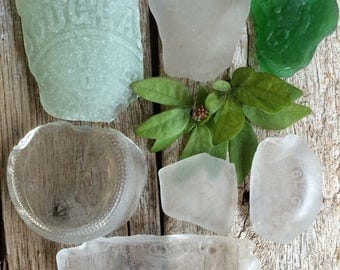 BOTTOMS UP...7 large chunky seaglass supplies,genuine beach finds,aqua green white glass,bottle art,jewelry display wire wrapping