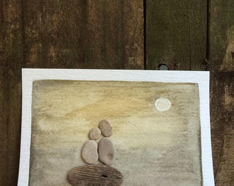 BEACH ART...hand painted watercolor with beach stones, handmade, love token Valentine souvenir, wedding gift