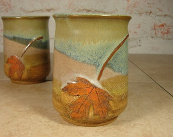 Handmade Pottery Tumblers - Set of Two with Maple Leves - Tree Hugger Series