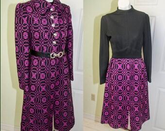 Vintage 70s Saks Fifth Avenue Bohemian Coat & Dress Ensemble Small