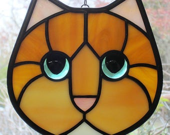 Stained Glass Cat Face Ginger Orange Amber with Green Eyes Suncatcher