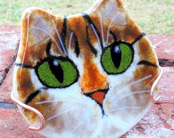 Tabby Cat Face Fused Glass Painting Display with Copper Display Holder