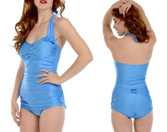 Rita Ruched Front Bow Back Onepiece Halter Swimsuit in Atlantic Blue