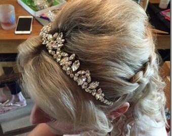 Winter weddings, Bridal hair accessories, wedding hairband, hairpiece, vintage style hairband, headband, crystal