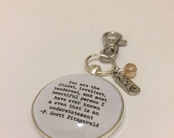 F. Scott Fitzgerald love quote keyring bag charm zip pull