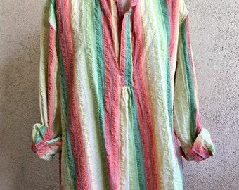 Seersucker cotton striped tunic
