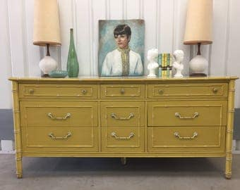 FAUX BAMBOO DRESSER Midcentury Thomasville Allegro c1960s Original Yellow Paint Vintage Retro Hollywood Regency Chinoiserie