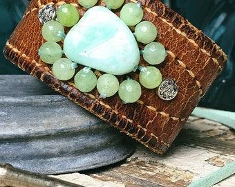 Customize leather bracelet, beaded bracelet, chrysophase leather bracelet, leather cuff, upcycled leather belt