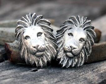 Lions Head Pewter Cufflinks