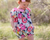 Baby Playsuit Pattern Peasant style 0 months through 5t PDF downloadable