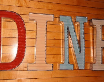 Very Large Farmhouse Large Industrial  Corrugated Metal Letters DINE, Fixer Upper Decor