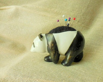 Vintage Sweet little Panda Bear Planter remade into a Pin Cushion