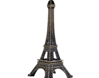 "Metal Eiffel Tower France Stand Ornament 4"" bronze ornament"
