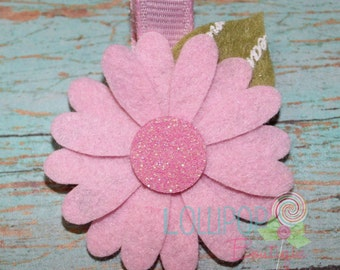 Pink Daisy Flower Hair Clip, Flower Hair Clip, Felt Flower Hair Clip, Hair Clip, Clip