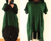 Long BAGGY Green Lagenlook Hooded Maxi Tunic Shirt Dress Plus Size 22 24 26 3X 4XHoodie Asymmetric Hem Layered Lagenlook DIY Style