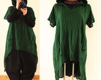Long BAGGY Green Lagenlook Hooded Maxi Tunic Shirt Dress Plus Size 22 24 26 3X 4XHoodie Asymmetric Hem Layered Lagenlook DIY Style