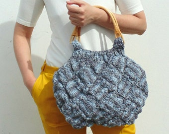 Variegated Gray Beach Bag, Womens Hobo Bag Purse, Hand Knitted Gray Cotton Boho Summer Bag, Womens Tote Bag, Top Handles Bag, Gifts for Her