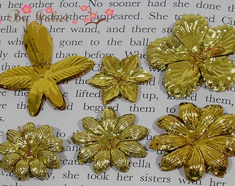 Millinery Flowers Vintage Trim Lot Gold Floral Embellishment Craft 60s 70s Handmade Bridal Jewelry Wedding Hair Accessories Fascinator Japan