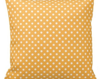 "POLKA DOTS On Bright Yellow - Throw Pillow, Decorative Pillow, Pillow Cover, Pillow Insert, Pillow Case - SQUARE- 17"" x 17"" - Zipper Closure"