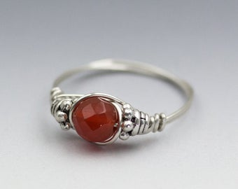 Carnelian Faceted Bali Sterling Silver Wire Wrapped Bead Ring - Made to Order, Ships Fast!