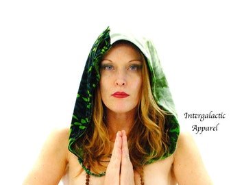 Reversible Festival Hood with Malachite, Gypsy Clothes, Hippie Hood, Galactivated Healing Hood