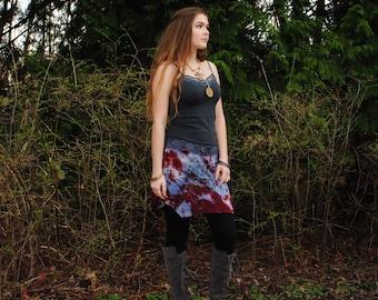 Hippie Skirt - Gypsy Skirt - Boho Skirt - Festival Skirt - Short Skirt - Womens Skirt - Organic Bamboo - Flower of Life Sacred Geometry