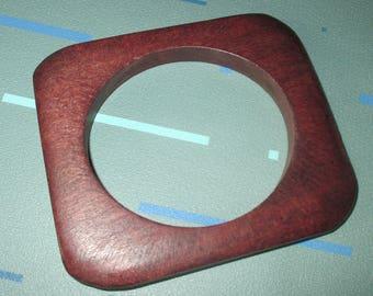 Last Call.....Vintage MOD Square Wood Bangle Bracelet
