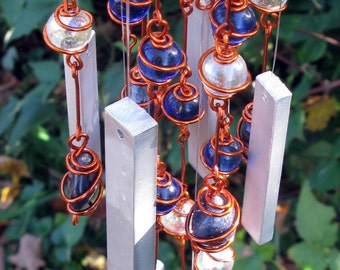 Blue Aventurine Windchime with Copper Wrapped Crystal Blue & Iridescent Clear Glass Marble Prisms, Outdoor Decor, Garden Yard Art