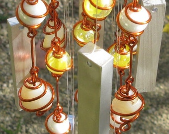 October Birthstone Yellow Opal Windchime with Recycled Aluminum and Copper Wrapped Iridescent Yellow Cat's Eye & Opal White Glass Marbles
