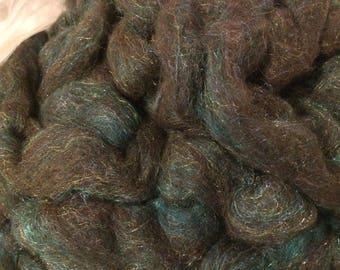 Alpaca Corriedale Bamboo Firestar Blend Roving- Black and Teal Pencil Roving- 4 oz. - Spinning, Felting, Fiber, Craft, Knitting, Crochet