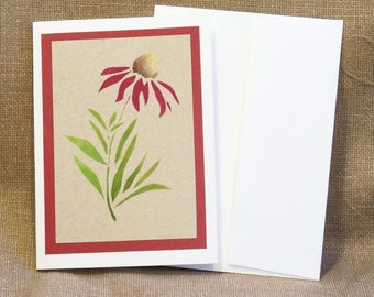 Note Card - Hand Stenciled - Red Coneflower on tan background - Notecard - Blank Greeting Card - Blank Note Card