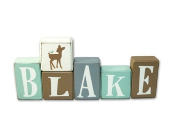 Woodland Deer Name Blocks - personalized - Woodland Deer - Nursery Decor