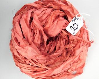 Silk Sari Ribbon, Sari silk ribbon, recycled ribbon sari ribbon, Coral sari ribbon, wedding ribbon, tassel ribbon, rug making supply