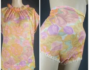 vanity fair panties briefs nylon pajamas collection set vintage pj's 60s pastel mod 6 medium med 34 cami lace floral sissy 1960s lingerie