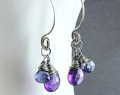 Iolite And Amethsyt Earrings Oxidized Silver February Birthstone  Gemstone Jewelry Wire Wrapped Multi Colored