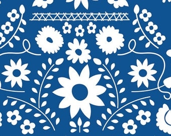 NEW Art Gallery Mexican Dress Midnight on cotton Lycra  knit fabric 1 yard.