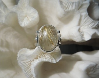Golden Rutile Agate Ring Size 8
