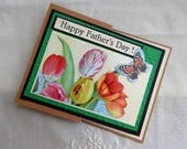 Handmade Father's Day Card: tulips, garden, z-fold, multi color, complete card, handmade, balsampondsdesign, recycle, ooak